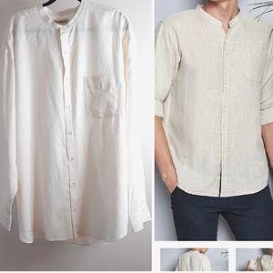 TravelSmith Silk Cotton Mondarin colar  Men Shirt